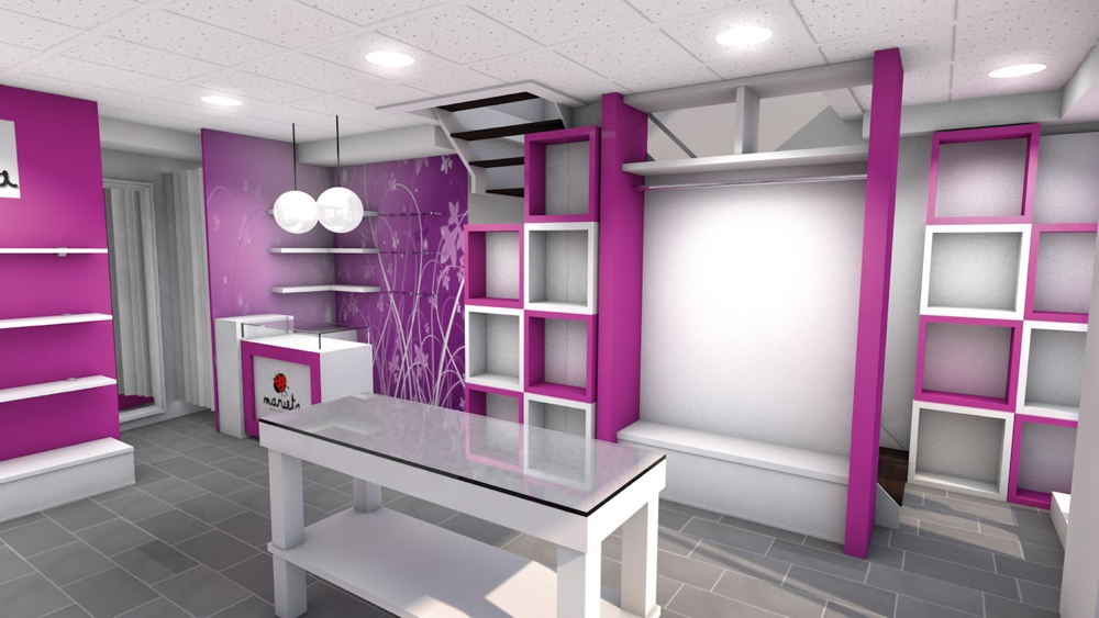 Dise o de tienda marieta studio17 retail stands for Fachadas de almacenes modernos